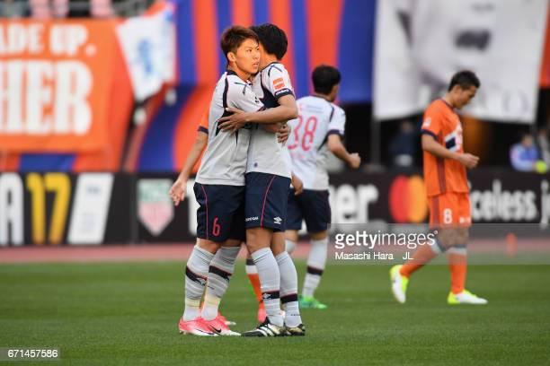 Kosuke Ota of FC Tokyo and team mate celebrate their 30 win after the JLeague J1 match between Albirex Niigata and FC Tokyo at Denka Big Swan Stadium...