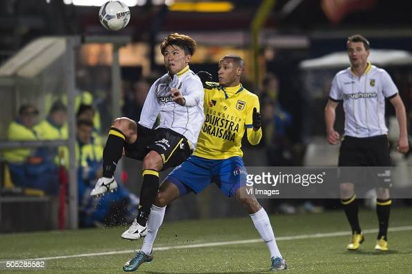 Kosuke Ota of Vitesse Furdjel Narsingh of SC Cambuur Leeuwarden during the Dutch Eredivisie match between SC Cambuur Leeuwarden and Vitesse Arnhem at...
