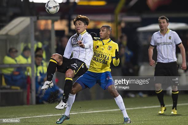 Kosuke Ota of Vitesse Furdjel Narsingh of SC Cambuur Leeuwarden during the Dutch Eredivisie match between SC Cambuur Leeuwarden and Vitesse Arnhem at...