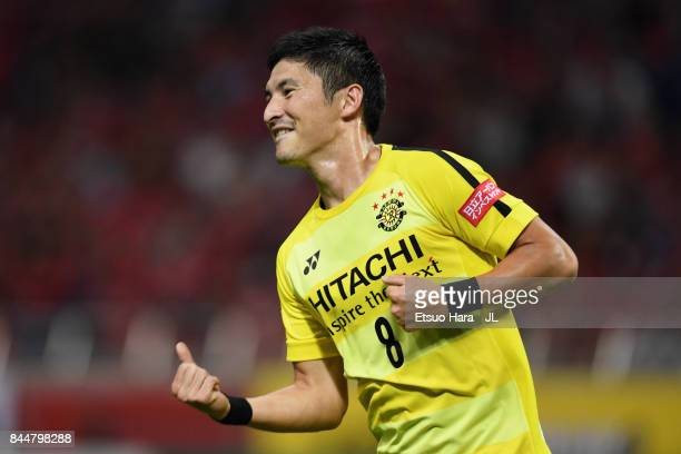 Kosuke Taketomi of Kashiwa Reysol cerabrates scoring his side's second goal during the JLeague J1 match between Urawa Red Diamonds and Kashiwa Reysol...