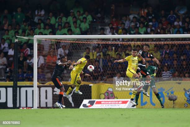 Kosuke Taketomi of Kashiwa Reysol heads the ball to score his side's third goal during the JLeague J1 match between Shimizu SPulse and Kashiwa Reysol...