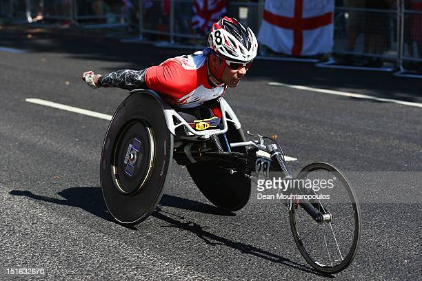 Kota Hokinoue of Japan competes in the Men's T54 Marathon on day 11 of the London 2012 Paralympic Games at Olympic Stadium on September 9 2012 in...