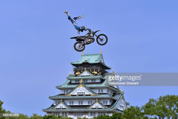 Kota Kugimura of Japan with Yamaha YZ250 competes during qualifying for the Red Bull XFighters World Tour on May 24 2014 in Osaka Japan