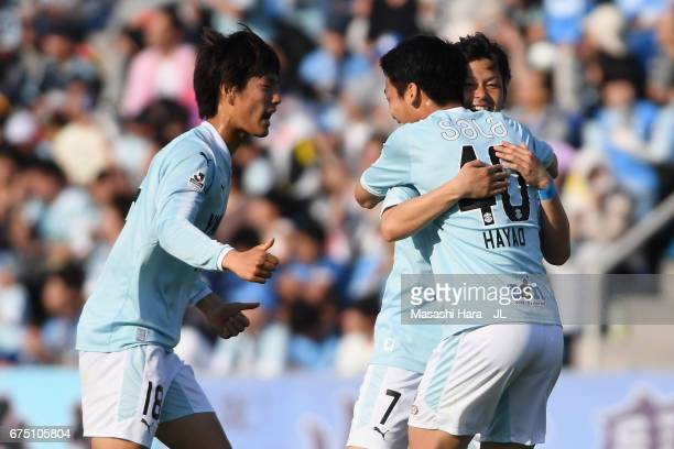 Kota Ueda of Jubilo Iwata celebrates scoring his side's second goal with his team mates Koki Ogawa and Hayao Kawabe during the JLeague J1 match...