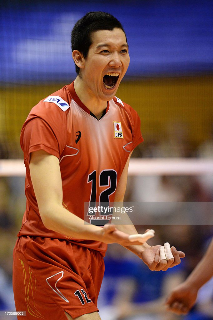 <a gi-track='captionPersonalityLinkClicked' href=/galleries/search?phrase=Kota+Yamamura&family=editorial&specificpeople=2144831 ng-click='$event.stopPropagation()'>Kota Yamamura</a> of Japan celebrates after point during the FIVB World League Pool C match between Japan and Finland at Park Arena Komaki on June 15, 2013 in Komaki, Japan.