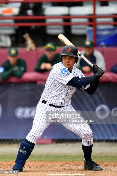 Kotaro Kiyomiya of Japan at bat during a game against Australia during the WBSC U18 Baseball World Cup Super Round game between Australia and Japan...
