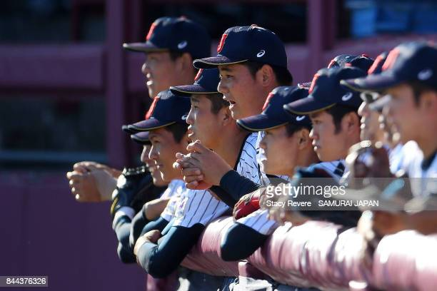 Kotaro Kiyomiya of Japan cheers for his teammates during the second inning of a game against Canada during the WBSC U18 Baseball World Cup Super...