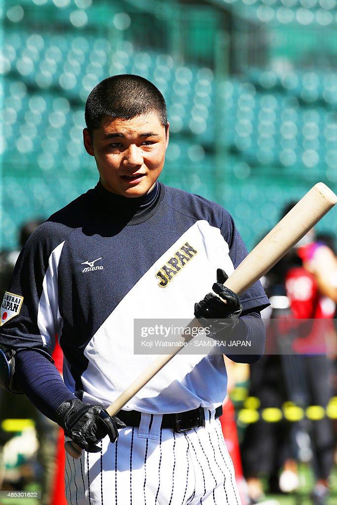 Kotaro Kiyomiya of Japan in acton during in the sendoff game between U18 Japan and Collegiate Japan before the 2015 WBSC U18 Baseball World Cup at...