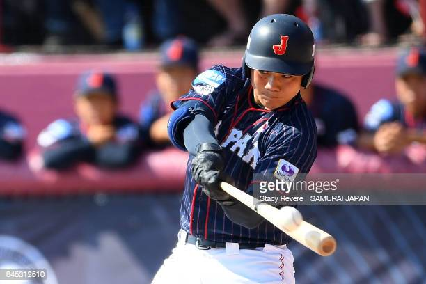 Kotaro Kiyomiya of Japan swings at a pitch during the fourth inning of a game against Canada during the WBSC U18 Baseball World Cup Bronze Medal Game...