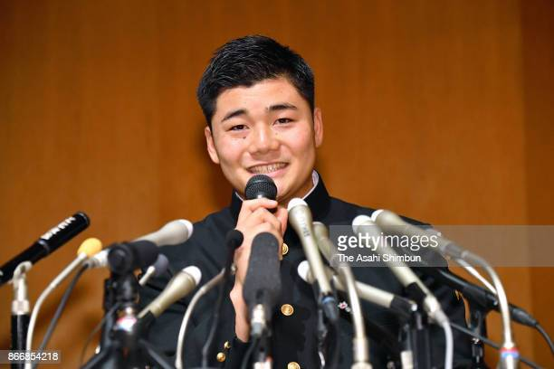 Kotaro Kiyomiya of Waseda Jitsugyo High School speaks during a press conference after picked up by Hokkaido Nippon Ham Fighters after the 2017...