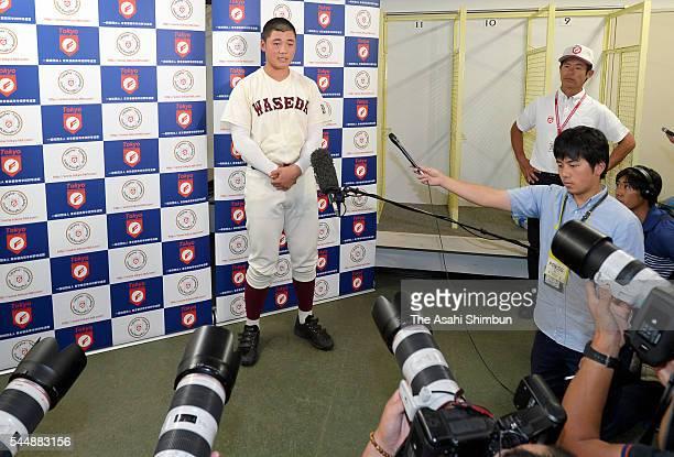 Kotaro Kiyomiya of Waseda Jitsugyo speaks after the opening ceremony of the National High School Baseball Championship West Tokyo Qualifying...