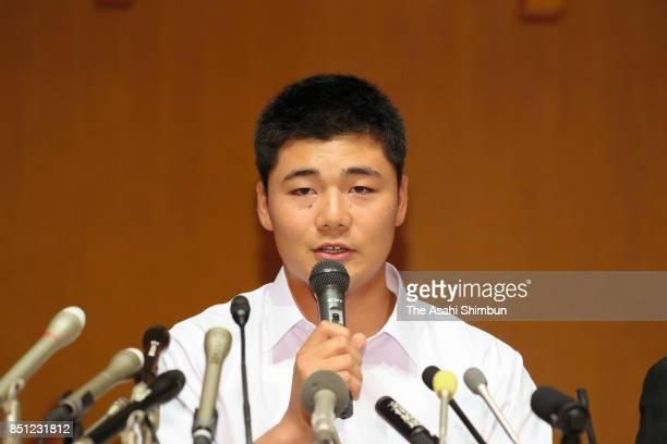 Kotaro Kiyomiya of Waseda Jitsugyo speaks during a press conference at Waseda Jitsugyo High School on September 22 2017 in Kokubunji Tokyo Japan