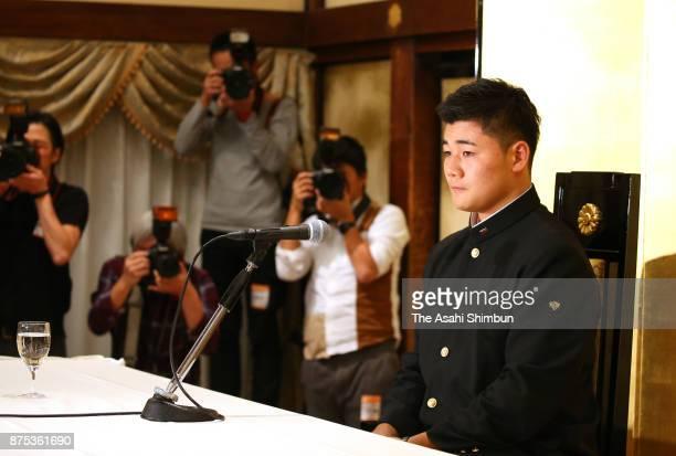 Kotaro Kiyomiya of Waseda Jitsugyo speaks during a press conference after agreeing to join the Hokkaido Nippon Ham Fighters at Meiji Kinenkan on...