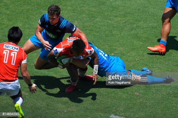 Kotaro Matsushima of Sunwolves is tackled during the Super Rugby match between the Sunwolves and the Blues at Prince Chichibu Stadium on July 15 2017...