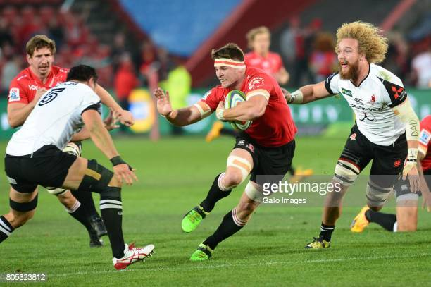 Kotaro Yatabe of the Sunwolves and Jaco Kriel of the Lions during the Super Rugby match between Emirates Lions and Sunwolves at Emirates Airline Park...