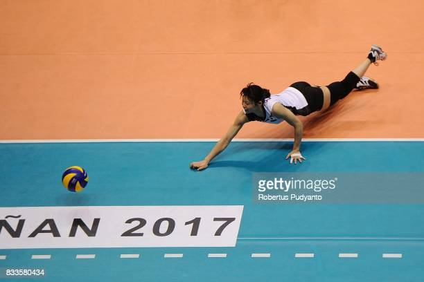 Kotoe Inoue of Japan falls during the 19th Asian Senior Women's Volleyball Championship 2017 Final match between Thailand and Japan at Alonte Sports...