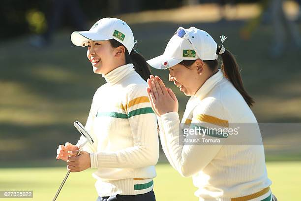 Kotone Hori of Japan celebrates after making her birdie putt with her team mate Yumiko Yoshida of Japan on the 15th hole during the second round of...