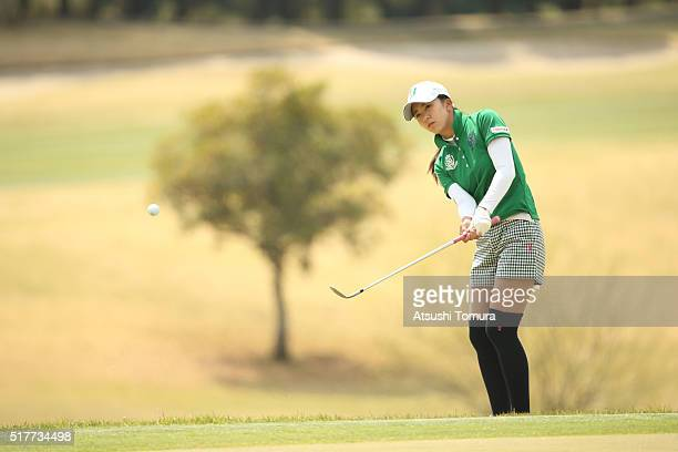 Kotone Hori of Japan hits her second shot on the 5th hole during the final round of the AXA Ladies Golf Tournament at the UMK Country Club on March...