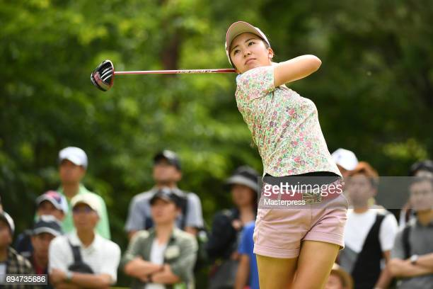 Kotone Hori of Japan hits her tee shot during the final round of the Suntory Ladies Open at the Rokko Kokusai Golf Club on June 11 2017 in Kobe Japan