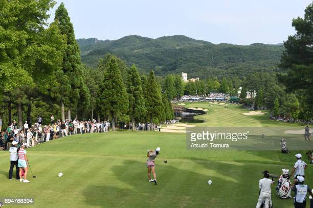 Kotone Hori of Japan hits her tee shot on 18th hole during the final day of the Suntory Ladies Open at the Rokko Kokusai Golf Club on June 11 2017 in...