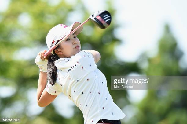 Kotone Hori of Japan hits her tee shot on the 13th hole during the second round of the Nipponham Ladies Classics at the Ambix Hakodate Club on July 8...