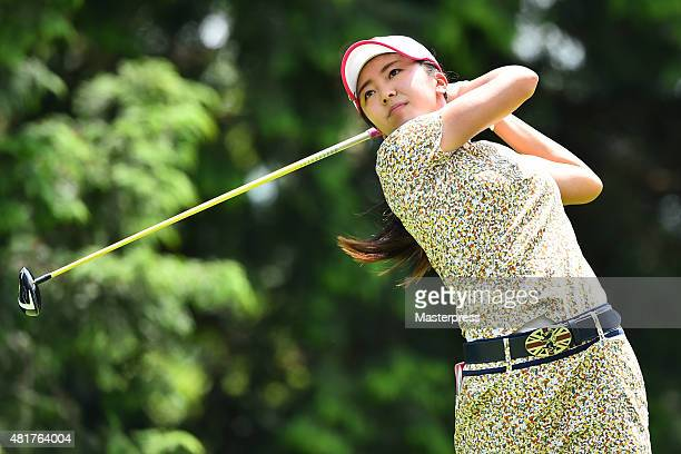 Kotone Hori of Japan hits her tee shot on the 14th hole during the first round of the Century 21 Ladies Golf Tournament 2015 at the Izu Daijin...