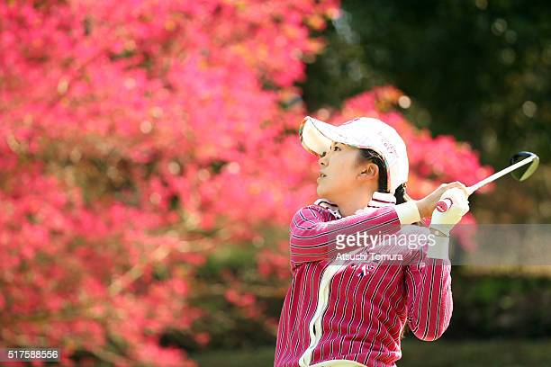 Kotone Hori of Japan hits her tee shot on the 16th hole during the second round of the AXA Ladies Golf Tournament at the UMK Country Club on March 26...