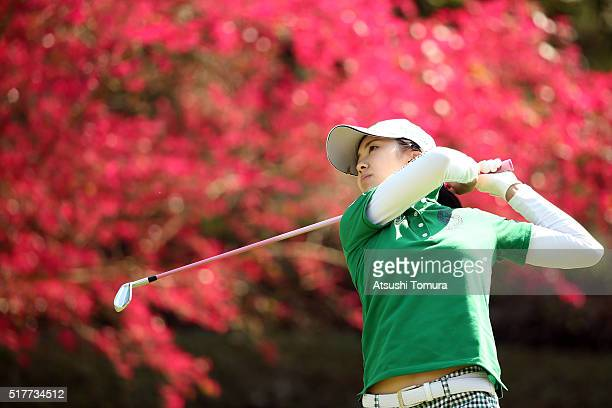 Kotone Hori of Japan hits her tee shot on the 16th hole during the final round of the AXA Ladies Golf Tournament at the UMK Country Club on March 27...
