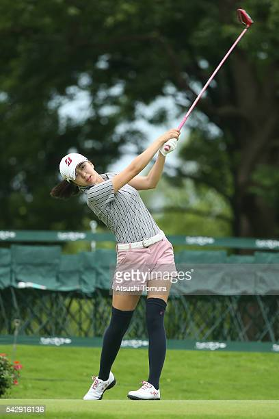 Kotone Hori of Japan hits her tee shot on the 18th hole during the third round of the Earth Mondamin Cup at the Camellia Hills Country Club on June...