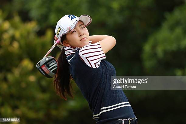 Kotone Hori of Japan hits her tee shot on the 2nd hole during the third round of the Daikin Orchid Ladies Golf Tournament at the Ryukyu Golf Club on...