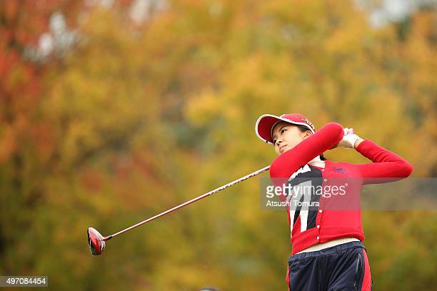 Kotone Hori of Japan hits her tee shot on the 3rd hole during the second round of the Itoen Ladies Golf Tournament 2015 at the Great Island Club on...