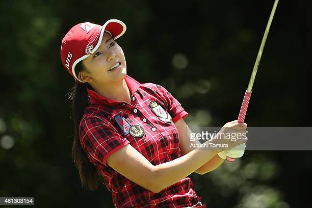 Kotone Hori of Japan hits her tee shot on the 5th hole during the Samantha Thavasa Girls Collection Ladies Tournament 2015 at the Eagle Point Golf...