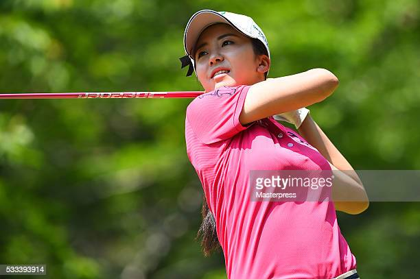 Kotone Hori of Japan hits her tee shot on the 7th hole during the final round of the Chukyo Television Bridgestone Ladies Open at the Chukyo Golf...