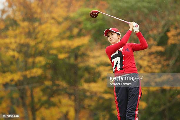 Kotone Hori of Japan hits her tee shot on the 9th hole during the second round of the Itoen Ladies Golf Tournament 2015 at the Great Island Club on...