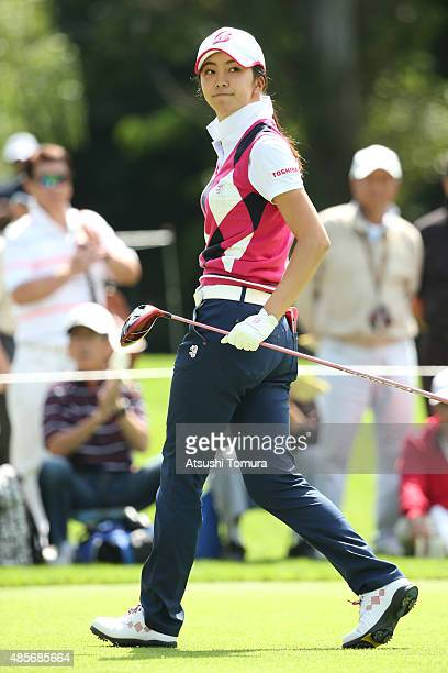 Kotone Hori of Japan hits her tee shot on the second hole during the second round of the Nitori Ladies 2015 at the Otaru Country Club on August 29...