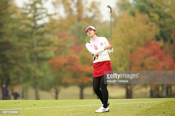 Kotone Hori of Japan hits her third shot on the 15th hole during the final round of the Itoen Ladies Golf Tournament 2015 at the Great Island Club on...