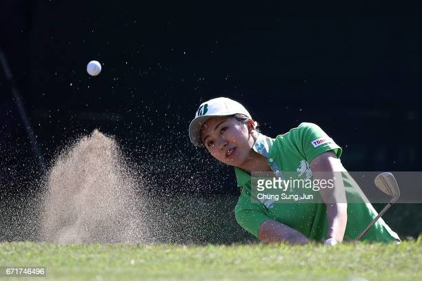 Kotone Hori of Japan plays a bunker shot on the 18th hole during the final round of Fujisankei Ladies Classic at the Kawana Hotel Golf Course Fuji...