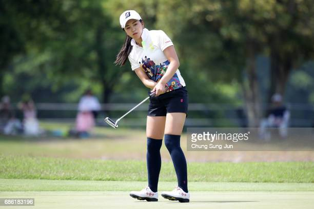 Kotone Hori of Japan plays a putt on the 9th green during the final round of the Chukyo Television Bridgestone Ladies Open at the Chukyo Golf Club...