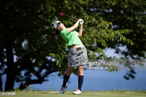 Kotone Hori of Japan plays a tee shot on the 14th hole during the final round of Fujisankei Ladies Classic at the Kawana Hotel Golf Course Fuji...