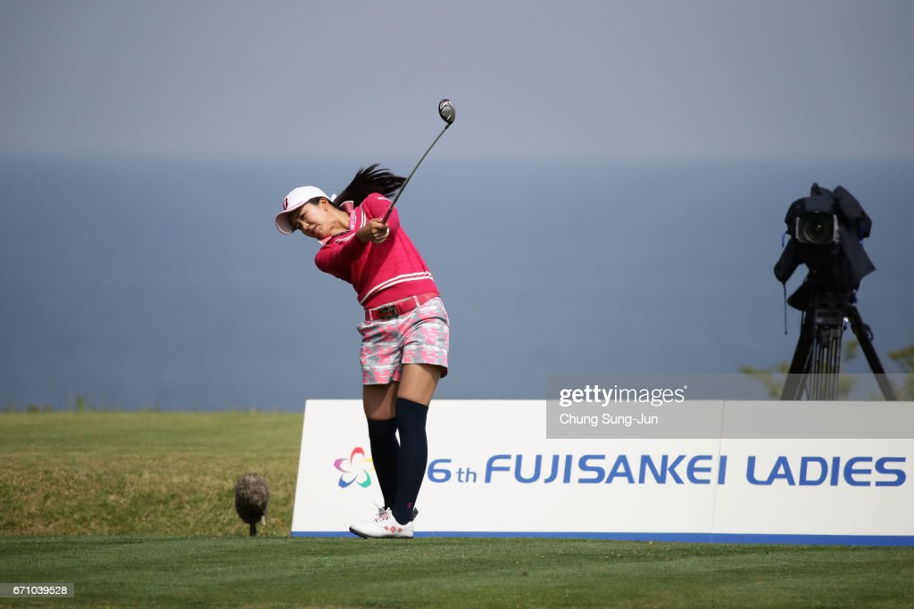 Kotone Hori of Japan plays a tee shot on the 17th hole during the first round of Fujisankei Ladies Classic at the Kawana Hotel Golf Course Fuji Course on April 21, 2017 in Ito, Japan.