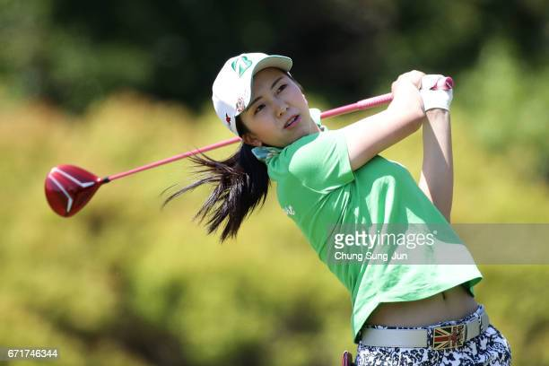 Kotone Hori of Japan plays a tee shot on the 5th hole during the final round of Fujisankei Ladies Classic at the Kawana Hotel Golf Course Fuji Course...