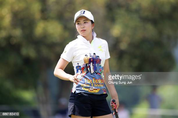 Kotone Hori of Japan reacts after a putt on the 9th green during the final round of the Chukyo Television Bridgestone Ladies Open at the Chukyo Golf...