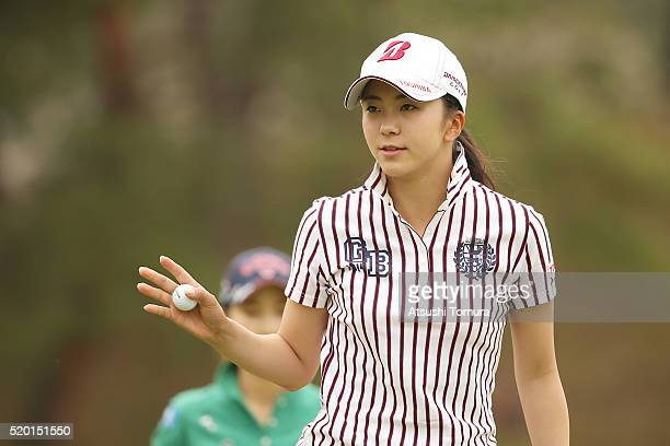 Kotone Hori of Japan reacts during the Studio Alice Open at the Hanayashiki Golf Club Yokawa Course on April 10 2016 in Miki Japan