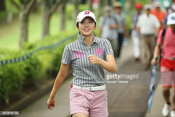 Kotone Hori of Japan smiles during the third round of the Earth Mondamin Cup at the Camellia Hills Country Club on June 25 2016 in Sodegaura Japan