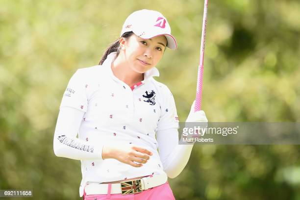 Kotone Hori of Japan watches her tee shot on the 4th hole during the final round of the Yonex Ladies Golf Tournament 2016 at the Yonex Country Club...