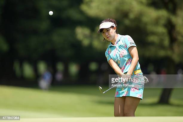 Kotono Kozuma of Japan chips onto the 9th green during the second round of the Nichirei Ladies at the Sodegaura Country Club Shinsode Course on June...