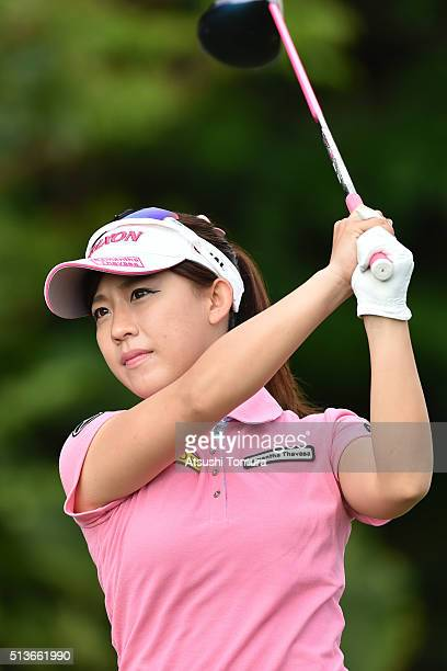 Kotono Kozuma of Japan hits her tee shot on the 10th hole during the second round of the Daikin Orchid Ladies Golf Tournament at the Ryukyu Golf Club...