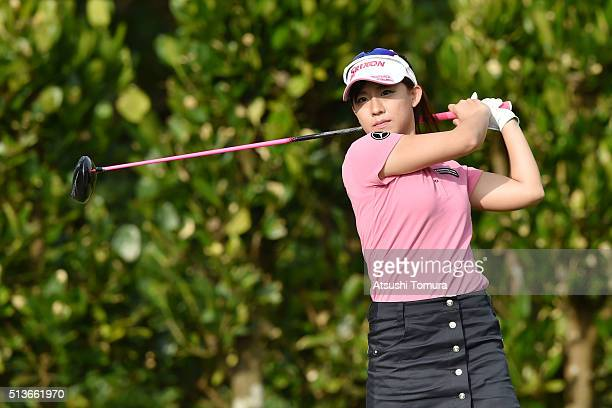 Kotono Kozuma of Japan hits her tee shot on the 11th hole during the second round of the Daikin Orchid Ladies Golf Tournament at the Ryukyu Golf Club...