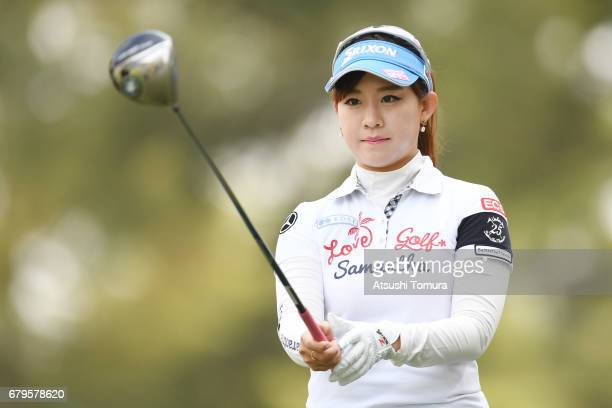 Kotono Kozuma of Japan hits her tee shot on the 2nd hole during the third round of the World Ladies Championship Salonpas Cup at the Ibaraki Golf...