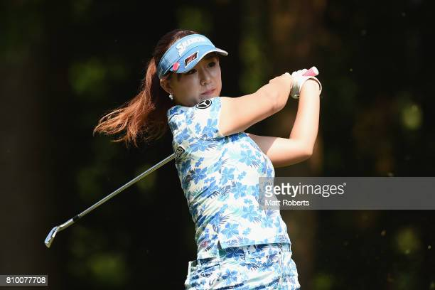 Kotono Kozuma of Japan hits her tee shot on the 2nd hole during the first round of the Nipponham Ladies Classics at the Ambix Hakodate Club on July 7...